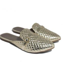 Buy ₹630 Women's Footwear Criss Cross Stitch Golden Flat Mules Sliders Slippers Free Shipping India
