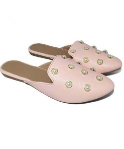 Buy ₹570 Women's Footwear Pearl Studded Pink Flat Mules Sliders Slippers Free Shipping India