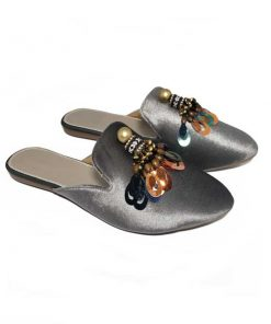 @ ₹650 Women's Footwear Shiny Velvet Tassel Grey Flat Flats Mules Sliders Slippers Sandals