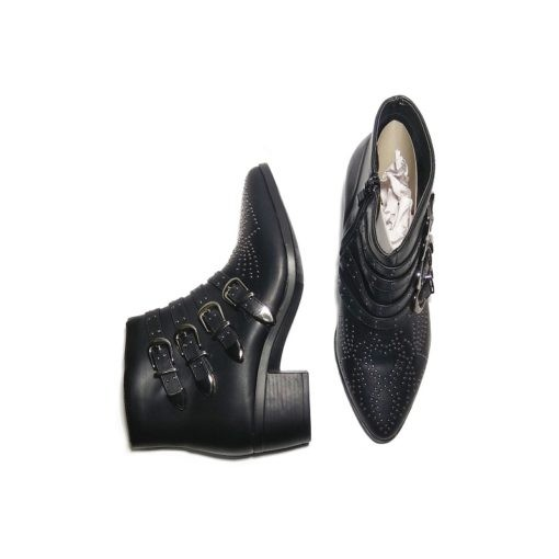 @ ₹800 Women'sBlack Studded Party Strap Zip Up Boots