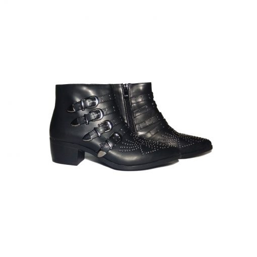 @ ₹800 Women'sBlack Studded Party Ankle Strap Zip UpBiker Boots