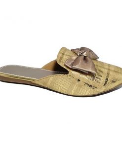 @ ₹680 Women's Footwear Knotted Bow Metallic Checks Gold Golden Flat Flats Mules Sliders Slipper Sandals
